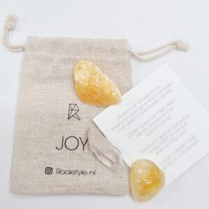 Joy setje met bergkristal, oranje calciet en citrien
