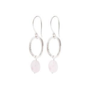 graceful oorbellen rozenkwarts